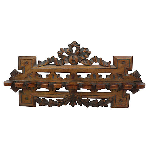 Antique Hand Carved English Pipe Rack