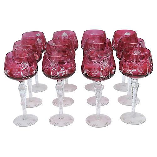 Cut Cranberry Bohemian Wine Stems, S/12