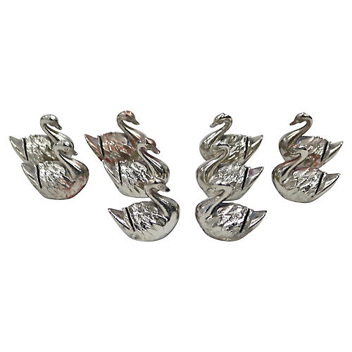 French Swan Placecard Holders,S/10