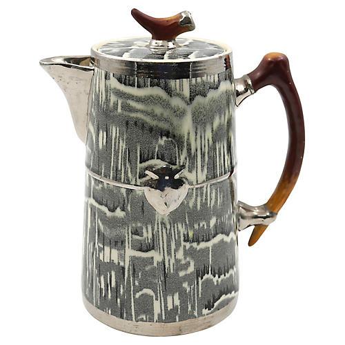 Silver Shield Faux Bois Hot Water Pot