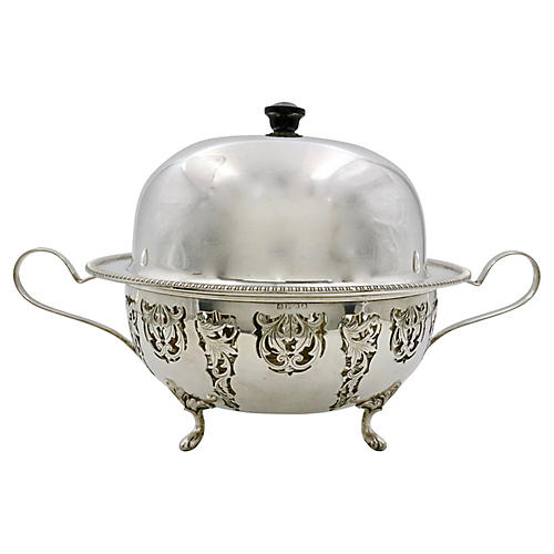 English Silver-Plate Covered Dish
