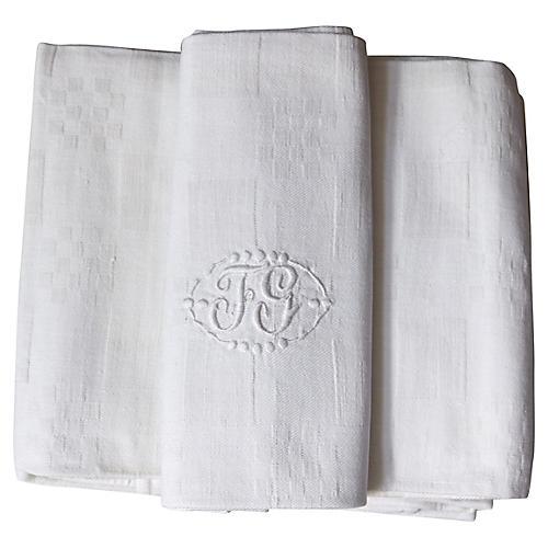 "Antique French Linen ""FG"" Napkins, S/8"