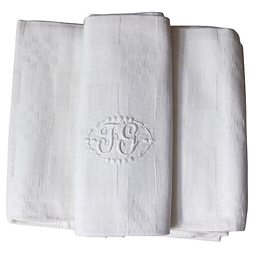"Antique French Linen ""FG"" Napkins, S/8"