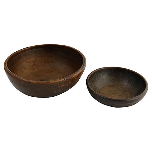 Antique Hand-Turned Wood Bowls, Pair