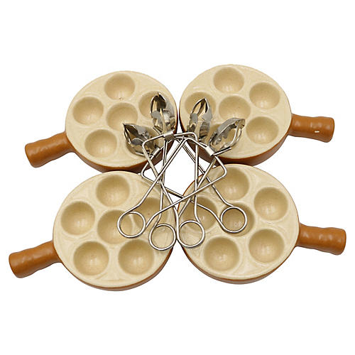 Mid-Century French Escargot Set, 8 Pcs