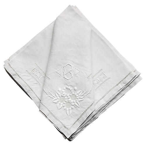 """French Cocktail Napkins , """"B"""", S/8"""