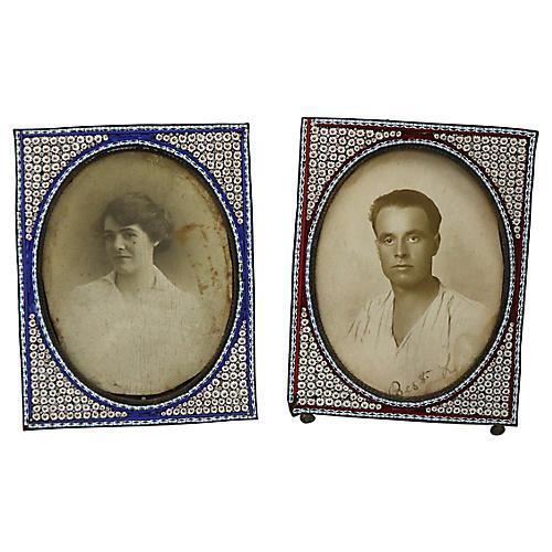 Antique Italian Micro-Mosaic Frames, S/2