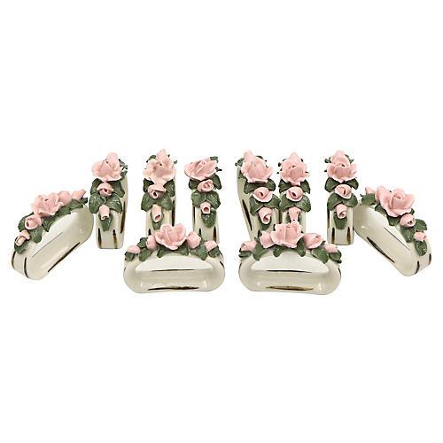 Porcelain Rose Napkin Rings,S/10