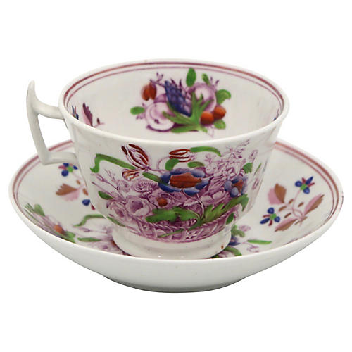 Antique English Luster Tea Cup & Saucer