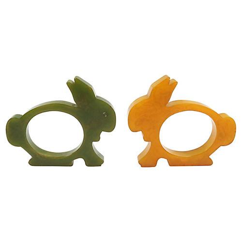 Mid-Century Bakelite Rabbit Napkin Rings