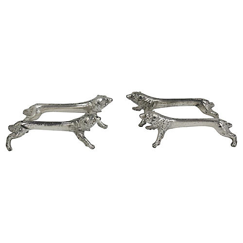 French Silver-Plate Bear Knife Rests,S/4