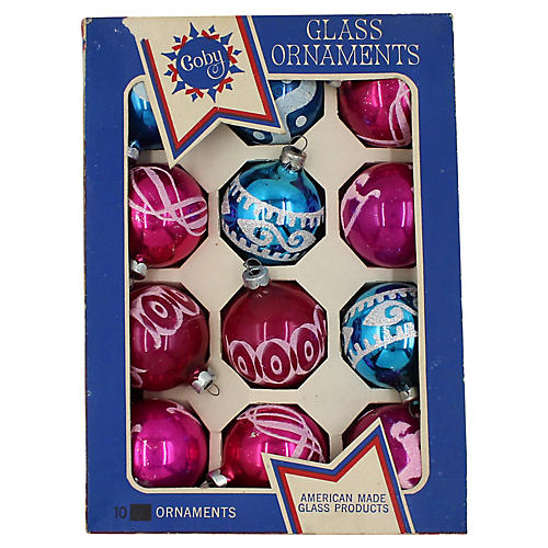 1950s Glass Christmas Ornaments, S/12