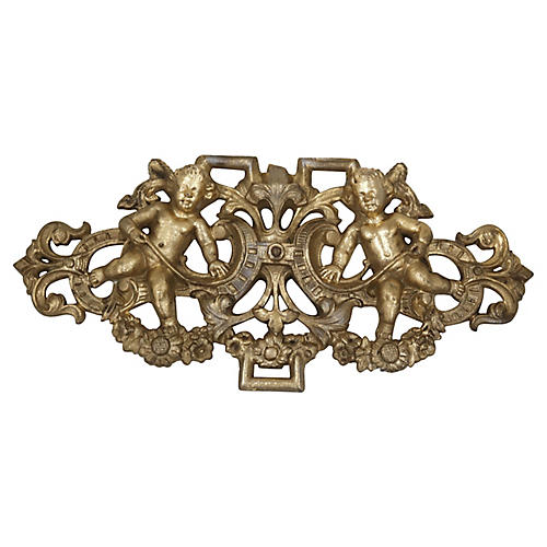 French Gilded Cast Iron Cherub Pediment