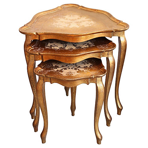 1960s Florentine Nesting Tables, S/3