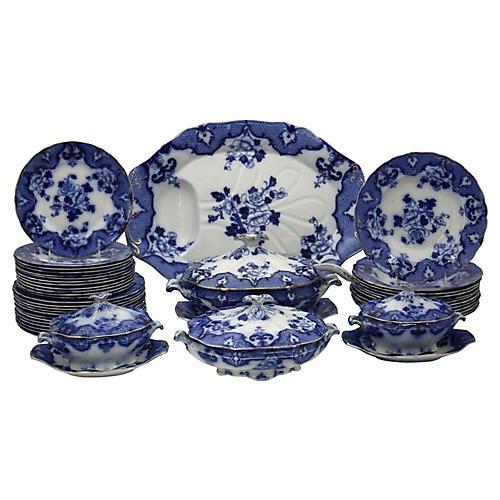 Antique English Blue Dinner Set, 41 Pcs