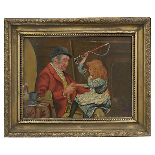 1899 Oil of Man & Girl After The Hunt