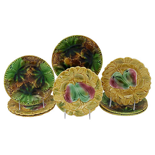 Mixed French Majolica Plates, S/8