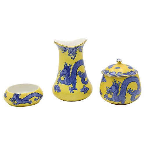 Antique English Dragon Vanity Set