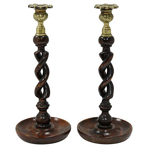 Antique English Oak & Brass Candlesticks