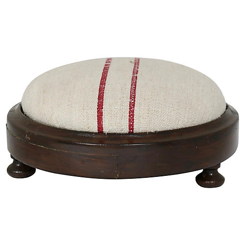 Antique French Grain-Sack Footstool
