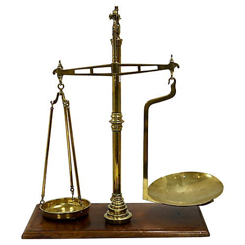 Large Antique English Scale w/ Weights,