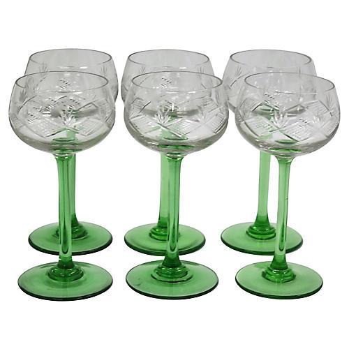 Mid-Century Green Stem Wine Glasses, S/6