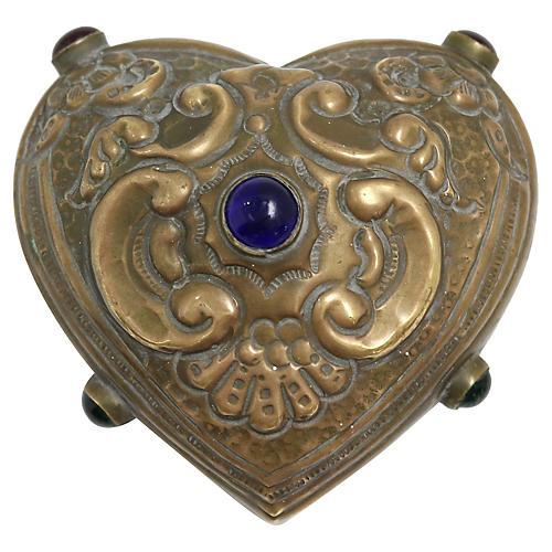 Antique Arts & Crafts Cabochon Heart Box