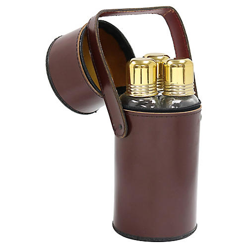 Mid-Century Traveling Flask Set, 4Pcs