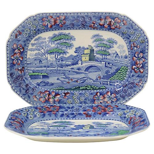 Antique English Spode Tower Platters, Pr