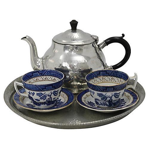 English Pewter & Willow Tea Set, 4 pcs