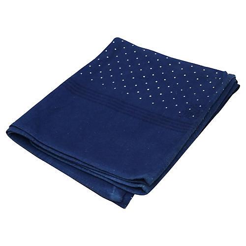 French Indigo Polka Dot Tablecloth