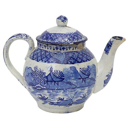 English Child's Willow Teapot - C.1820
