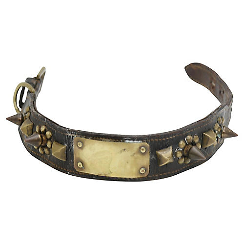 Antique Leather & Brass Spike Dog Collar
