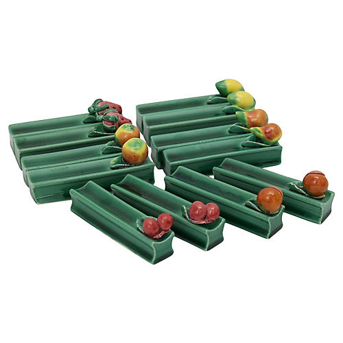 French Majolica Fruit Knife Rests, 12Pcs