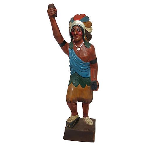 Antique Carved Wood Indian Figure