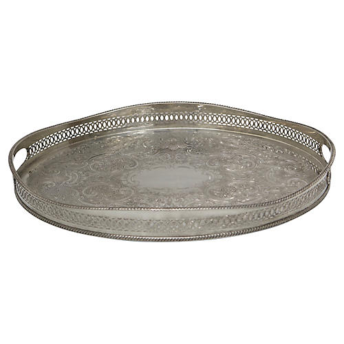 English Oval Silver-Plate Gallery Tray