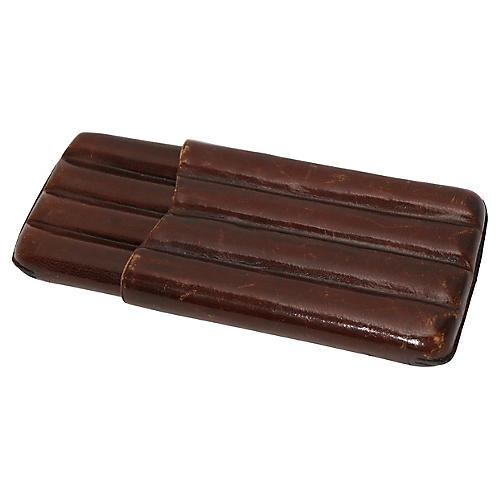 Mid-Century English Leather Cigar Case