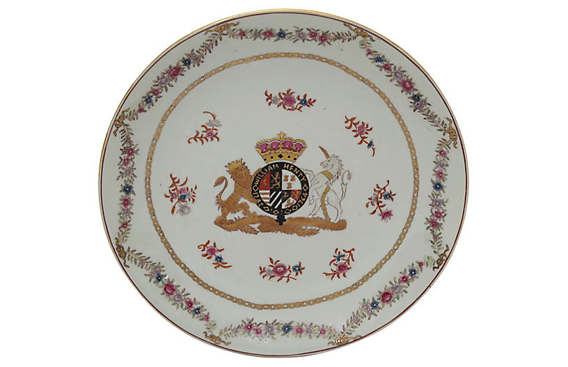 Chinese Export Coat of Arms Wall Plate