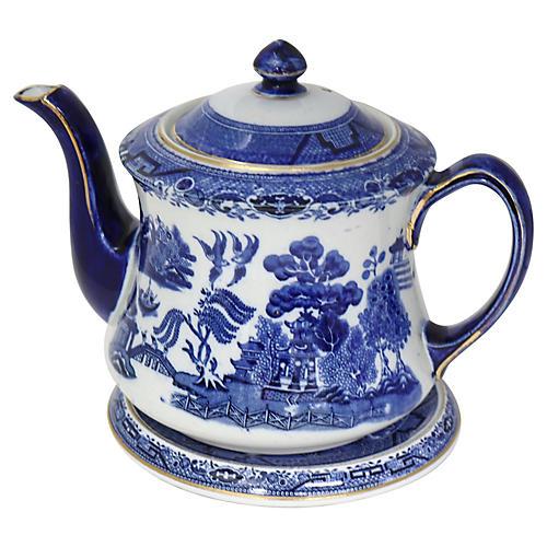 English Willow Teapot w/ Trivet, 2 Pcs