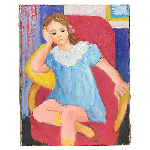 Mid-Century French Portrait Of a Girl