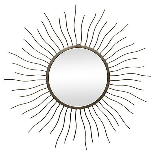 Midcentury French Sunburst Wall Mirror
