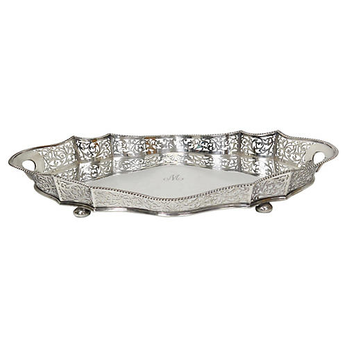 """Large Antique Walker & Hall Tray, """"M"""""""