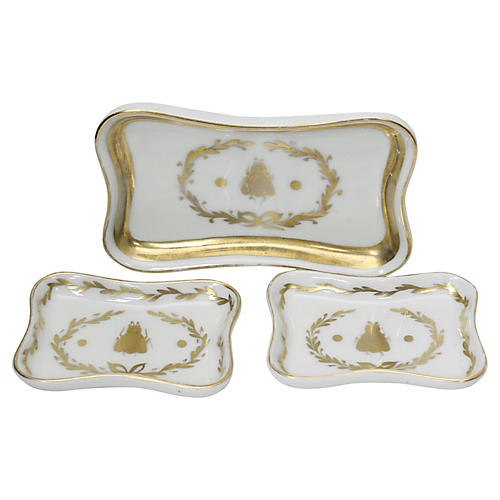 Limoges Bumble Bee Trinket Dishes, s/3