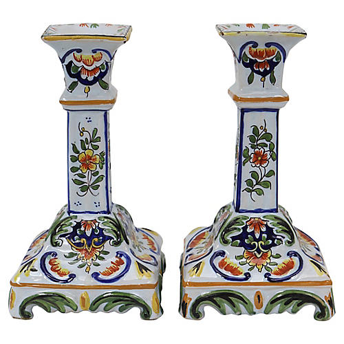 Antique French Faience Candlesticks, Pr