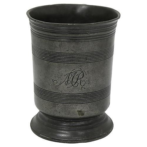 "18th-C. English Pewter ""MR"" Tavern Mug"