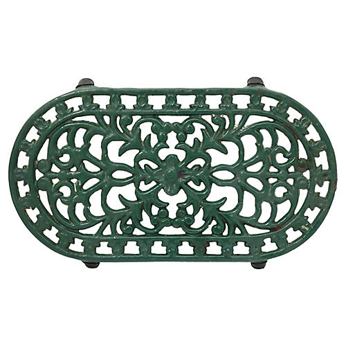 1960s French Cast Iron Enameled Trivet