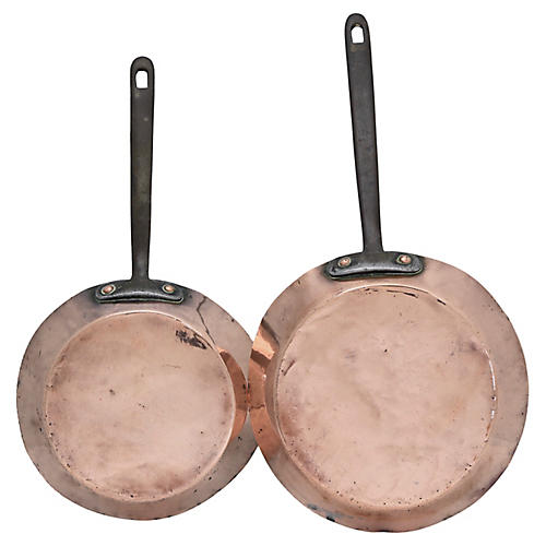 Antique English Copper Saute Pans, Pair