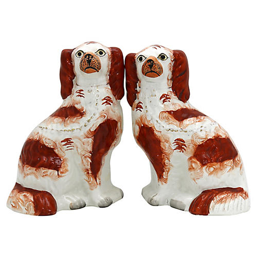 Antique Staffordshire King Charles Dogs