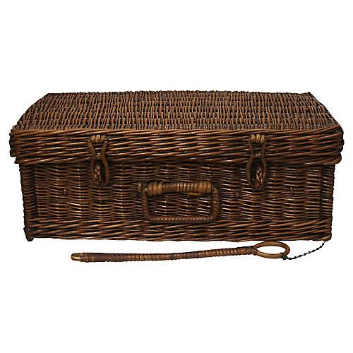 English Wicker Picnic Basket, 3 Pc