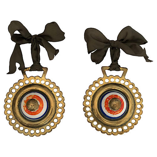 Antique Bulls Eye Horse Brass Ornaments